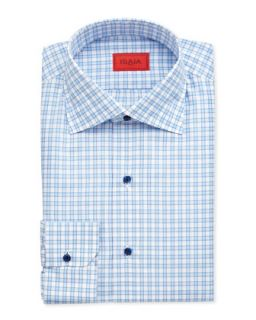 Mens Large Gingham Dress Shirt, Blue/White   Isaia   White (16 1/2)