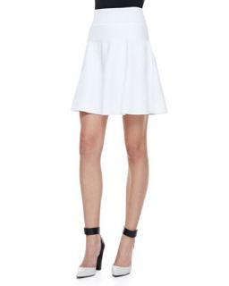 Womens Ribbed Knit Fit & Flare Skirt   Milly   White (SMALL)