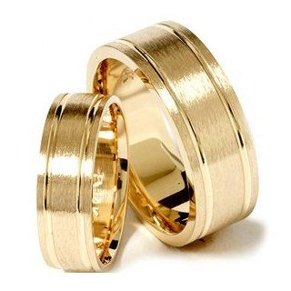 Matching His Hers 14K Yellow Gold Wedding Ring Band Set Jewelry