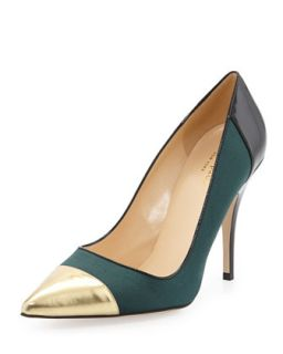liberty cap toe suede pump, green/gold   kate spade new york   Green/Gold (39.