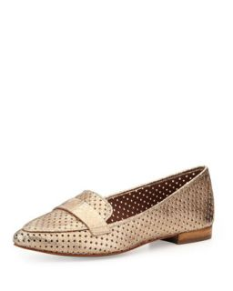 Perforated Metallic Leather Loafer, Gold   Donald J Pliner   Gold (37.5B/7.5B)