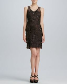 Womens Sleeveless Embroidered Cocktail Dress   Sue Wong   Chocolate (2)