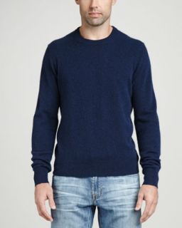 Mens Cashmere Crewneck Elbow Patch Sweater, Navy   Mezzanotte (LARGE)