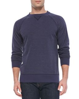 Mens Striped Crewneck Sweatshirt, Navy   Billy Reid   Navy (MEDIUM)