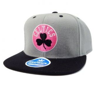 Boston Celtics Adidas Gray and Neon Pink Snapback Hat Clothing