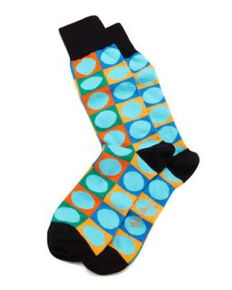Circle on Square Mens Socks, Turquoise   Arthur George by Robert Kardashian