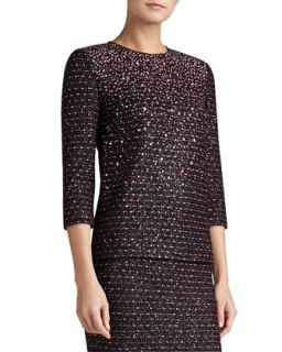 Womens Multi Texture Knit Sleeve Top with Sequins   St. John Collection