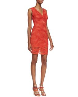 Womens Sleeveless Swirled Lace Cocktail Dress, Melon   Nicole Miller   Melon