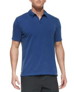 Mens Sueded Jersey Polo Shirt, Blue   James Perse   Blue (4)