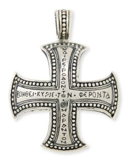 Mens Dare Sterling Silver Cross Pendant   KONSTANTINO   Tan