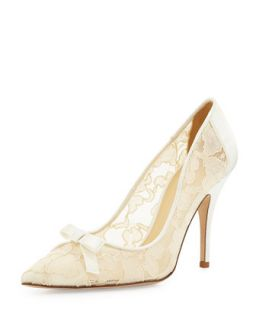 lisa lace & satin bow pump, ivory   kate spade new york   Ivory (41.0B/11.0B)
