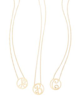 Mini Single Initial Necklace, Yellow Gold, 18   K Kane   F