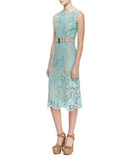 Womens Elle Sleeveless Belted Lace Dress   korovilas   Mint (4)