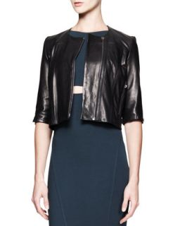 Womens Petal Cropped Leather Jacket   Helmut Lang   Black (PETITE)