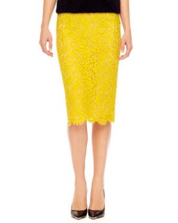Womens Floral Lace Pencil Skirt   Chartreuse/Nude (4)