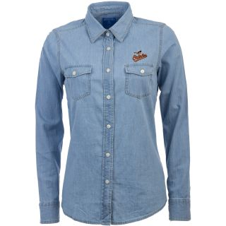 Antigua Baltimore Orioles Womens Chambray Long Sleeve Button Up Woven Shirt