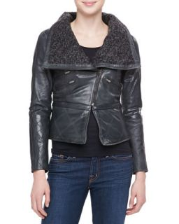 Womens Leather Moto Jacket with Knit Collar   Bagatelle   Forest green (X
