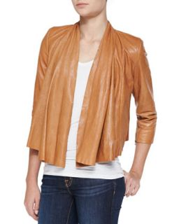 Womens Open Front Draped Leather Jacket   Alice + Olivia   Caramel (X SMALL)