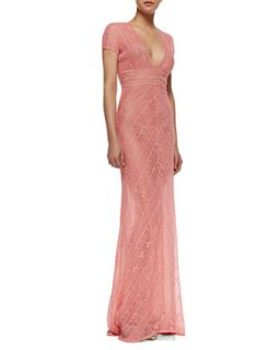 Womens Short Sleeve Lace Column Gown, Coral   Naeem Khan   Coral (10)