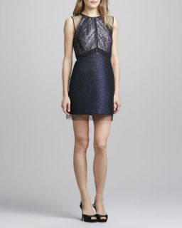 Womens Sleeveless Jacquard & Lace Cocktail Dress   Phoebe Couture   Midnight