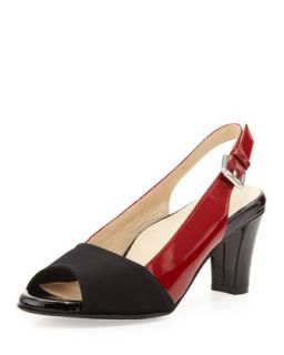 Fortula Peep Toe Slingback, Black/Red   Taryn Rose   Black/Red (37.5B/7.5B)
