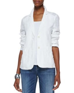 Handkerchief Linen 2 Button Jacket, White, Womens   Eileen Fisher   White (3X