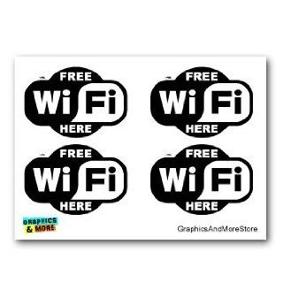 Free WiFi Internet Here   BLACK Store Cafe Sign   Set of 4   Window Bumper Laptop Stickers Automotive