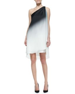 Womens Ombre Draped One Shoulder Dress   Halston Heritage   Chalk/Blk omb prn