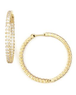 38mm Yellow Gold Diamond Hoop Earrings, 2.46ct   Roberto Coin   Yellow (38mm ,