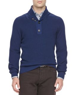 Mens Ribbed Shawl Collar Henley, Indigo   Brunello Cucinelli   Cm945 (52)