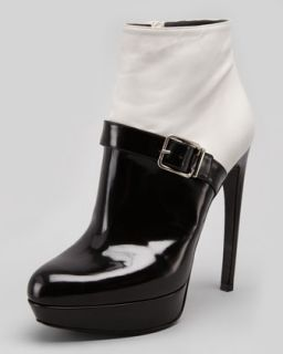 Bicolor Platform Buckle Ankle Boot, White/Black   Alexander McQueen