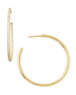45mm Yellow Gold Diamond Hoop Earrings, 1.4ct   Roberto Coin   Yellow (45mm ,