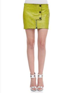 Womens Crackled Leather Snap Miniskirt   Opening Ceremony   Green (2)