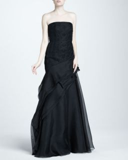 Womens Embroidered Strapless Organza Gown   J. Mendel   Black (6)