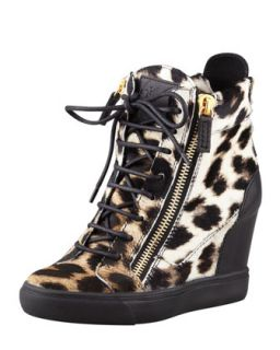 Leopard Print Calf Hair Wedge Sneaker   Giuseppe Zanotti   Natural (40.0B/10.0B)