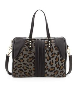 Abbey Leopard Print Calf Hair Tote Bag, Black   Kelsi Dagger