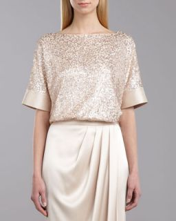 Womens Sequined Tulle Top, Porcelain   St. John Collection   Porcelain (LARGE)