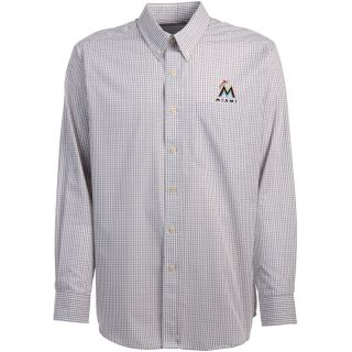 Antigua Miami Marlins Mens Monarch Long Sleeve Dress Shirt   Size Large,