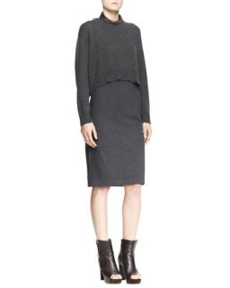 Womens Cropped Sweater & Sleeveless Dress, Two Piece Set   Brunello Cucinelli