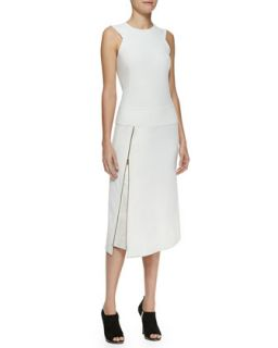 Womens Sleeveless Zip Dress with Satin Facing   Donna Karan   Ivory (10)