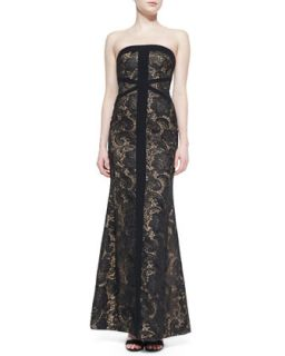 Womens Strapless Embroidered Mesh Gown   ML Monique Lhuillier   Black/Nude (6)