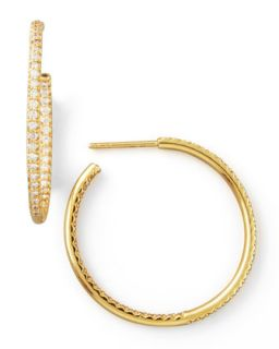30mm Yellow Gold Diamond Hoop Earrings, 0.98ct   Roberto Coin   Yellow (30mm ,