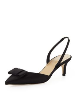 susi satin bow slingback pump, black   kate spade new york   Black (39.5B/9.5B)