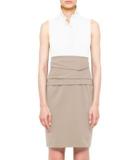 Womens Colorblock Cummerbund Dress, Cream/Sand   Akris punto   Cream (12)