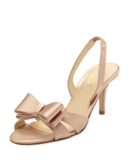 micah bow detail satin slingback pump, rose petal pink   kate spade new york