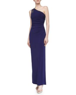 Womens One Shoulder Jersey Gown, Moody Blue   Laundry by Shelli Segal   Moody