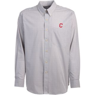 Antigua Cleveland Indians Mens Monarch Long Sleeve Dress Shirt   Size Large,