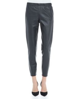 Womens Cropped Leather Pants, Graphite   Vince   Graphite (LARGE)