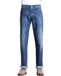 Mens Lightweight Medium Wash Jeans, Indigo   Brunello Cucinelli   Indigo