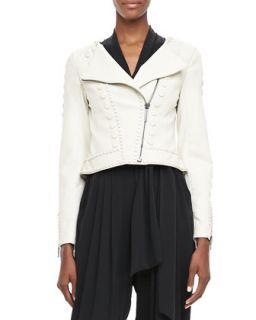 Womens Cadi Cropped Leather Jacket   Catherine Malandrino   Ivory (4)